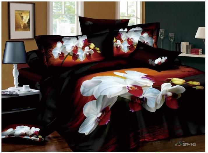 Floral iris black white red bedding comforter set queen comforters
