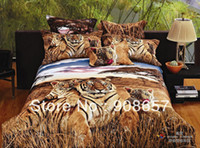 100% Cotton Home man brown tiger 500 TC cotton bed linen for man cheaper bedding set 3D oil painting comforter duvet covers for full queen quilt 4 5pc