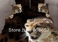 100% Cotton Home Adult cotton bed linen brown black leopard animal bedding set 3D bed sheets home textile discount quilt duvet covers full comforter