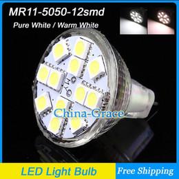 Gu4 conduit à vendre-10PCS / Lot MR11 GU4 2.5W 12 SMD 5050 LED ampoule lampe, 12V Downlight, Home Office Light Light Livraison gratuite