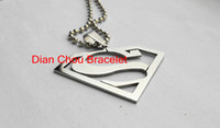 Wholesale FreeShipping Fashion Jewelry Superman Logo Shaped S Pendant L Stainless Steel Necklaces Mens Necklaces S01