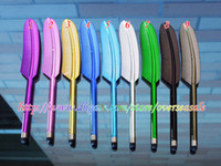 Wholesale Bling Chrome feather Design Capacitive Touch Stylus Pen for Smart Mobile Phone Samsung S3 S4 HTC Iphone S G Ipad Tablet