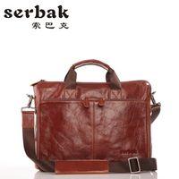 Wholesale New Serbak Genuine leather Briefcase Shoulder Bag Zipper Ipad special Handbags Tablet PC Bag Business OL bag Messenger Bags