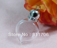 Wholesale 5 mm Heart clear glass wishing bottle rice vial Fashion ornament cap BX1