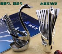 Wholesale Fruit fork Set Stainless Steel Small Coffee Spoon Tableware Cake Dessert Fork Bullseye Party Picks