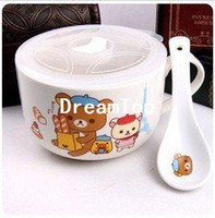 Ceramic Bowls  Ultra- Meng Easily bear ceramic noodles Cup Instant noodles bowl Bowls PresentedkumaSpoon Rilakkuma Bear