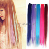 Wholesale 1PCS Fashion Colourful Clip On Hair Wigs Long Extension Party Fringe Hairpiece amp