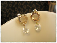 Wholesale Fashion dress collocation jewelry earrings not faded color popular jewelry gift jewelry karat gold circle crystal