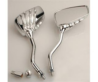 Wholesale Chrome Motorcycle Skull Mirror For Harley Softail Dyna motorcycle rear view bar end mirror