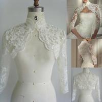 Women alencon lace jacket - Hot Sale Alencon Lace Bridal Jacket Custom made Wedding Bolero Long Sleeves Jacket