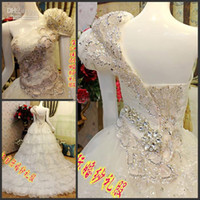Wholesale Brand New Custom made SEX Luxury one Shoulder Diamonds Princess Crystal Cathedral Multi level Wedding Dress