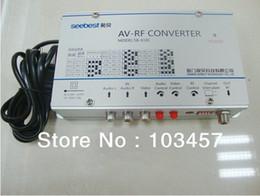 Wholesale SB C Audio amp video frequency agility modulator converter AV RF converter