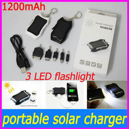 Wholesale high quality mAh Solar USB Charger Keychain with LED Flash light for Iphone Samsung Nokia phone PDA MP4 MP3