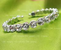 Wholesale P X Super Qualtity Zirconia Bangle Bracelet Swarovski element Crystals Silver Plated Bridal Bracelet Bride vintage Wristband