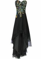 Sheath/Column Vintage Embroidery Hot sale Elegant Dress Retro Sheath Sweetheart Hi-Lo Rhinestone Beaded Peacock Embroidery Chiffon Evening Dresses Formal Gowns Prom Gown