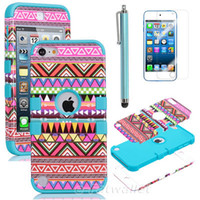 Wholesale Pink Blue Hybrid High Impact Silicone Tribale Case for iPod Touch G W Stylus Pen Screen Protective Film as Gift