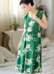 Wholesale Chinese costume dress green short sleeved cotton loose and comfortable Size XL XXL
