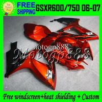 Wholesale Suzuki Gsxr Fairing Orange K6 - 2gifts+Cowl GSX-R750For SUZUKI K6 06 07 GSXR600 HOT Orange black GSX-R600 MP#10539 GSXR 600 750 2006 2007 GSXR750 Orange Fairing Bodywork