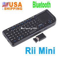 Wholesale US Stock To USA CA Rii Mini Wireless Bluetooth Keyboard Mouse Touchpad Presenter Laser For iPad iPod Touch PC Mac PS3 drop