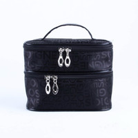 Wholesale Double Layered character Women Zipper Cosmetic Case Bag Makeup Purse black