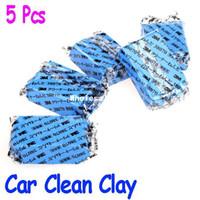 0 1 Sponges, Cloths & Brushes 5Pcs set Car Auto Magic Clean Clay Bar tailing Wash Sludge Mud Remove Blue Auto tailing Cleaner free Wholesale drop