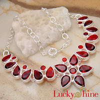 Wholesale Gorgeous Rose Red Flower Garnet Fashion Jewelry Crystal Necklaces N0036