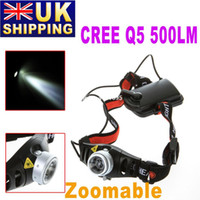 Wholesale UK Stock To UK Cordless Mining CREE Q5 LED Lamp Head Light Torch Headlamp Zoomable for Camping Hiking Hunting UPS Free drop