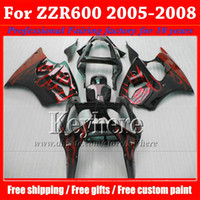 Wholesale Free gifts fairing kit for Kawasaki Ninja ZZR600 wine red flame in black plastic motobike parts ZZR Ph101