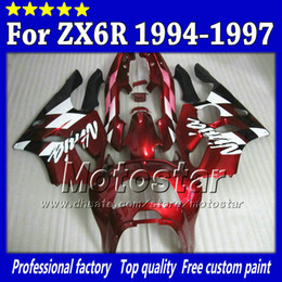 Red black sk60 fairing set for Kawasaki Ninja ZX 6R 1994 1995 1996 1997 ZX-6R ZX6R 94 95 96 97 aftermarket fairing +7gifts