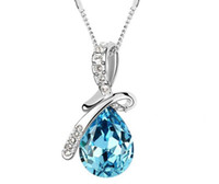 unique jewelry - white gold plated trendy fashion Jewelry high quality Unique Design Austrian Crystal Drop Necklace Jewellery