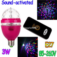 Wholesale Rose Full Color LED RGB Rotating Lamp W E27 V Sound activated mini DJ party Stage Light Bulb with Remote controller drop