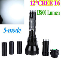 Wholesale Super Bright Cree XML T6 LED Flashlight LM LED Torch Light Lamp Lumen Mos powered by or battery drop