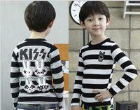Boy Spring / Autumn Standard %100 Pure Cotton Cute Rabbit Stripe Long Sleeve Boys T Shirt 3-8Year Children Topwear Baby Kids Tee Shirt For Autumn 5pcs lot QS379