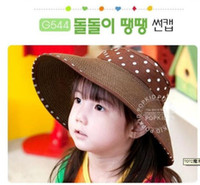 Beige Korean Man Children's fashion girl cap monochrome ribbon collapsible sun hat visor wide-brimmed straw hat nine colors can choose 1329