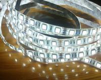 al por mayor refrigeración por agua llevado-12-14 lúmenes Cool Blanco 5M Impermeable / no prueba de agua 5050 SMD LED tira 300 Leds 60LED / M