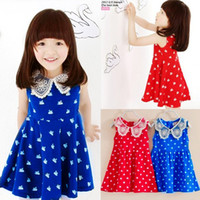 Wholesale lace Korean girls dress cute doll brought little swan baby dress cotton girls clothes baby girl wedding dress baby clothes pc