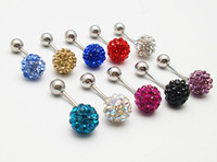 Wholesale 40PX g Shamballa Crystal Balls Banana Bells Belly Bars Navel Rings Ferido body piercing