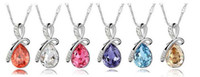 Wholesale Made with Swarovski Elements High Quality Silver Bowknot Drop shape Crystal necklace MIX orderCrystal Necklaces