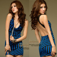 Wholesale W002 women new fashion blue irregular stripe sexy backless club wear party dress ladies summer mini dresses