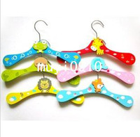 Wholesale Childrens Clothes Hangers Baby Pants clip Cute Cartoon Wooden Hangers on Non Slip Firm Durable