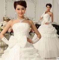 big details - 129 fashionable bridal gowns vestido de noiva sexy applique strapless big bow beading wedding dresses plus size