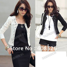 Wholesale 2013 New Lady s Long Sleeve Shrug Suits small Jacket Fashion Cool Women s Rivet Coat With Colors
