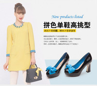 Wholesale new model bowknot patent leather platform thick with high heel women s shoes C01