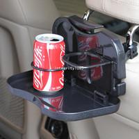 Wholesale Car seatback storage box folding rear seat pallet with drinks holders