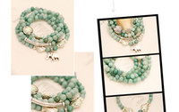 Europe and America Women's Party DHL shipping !!Wholesale New natural stone jade bracelet mint green elephant kiss fish four laps beads bracelet 20pcs lot