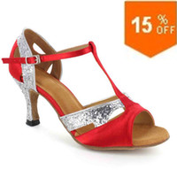 Customized Fashion Womens Satin Upper Dance Shoes latin dance shoes Fashion Red