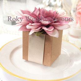 Wholesale HighQuality Kraftpaper Candy Boxes Brown Colors Square Wedding Favors Boxes candy package
