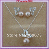 Wholesale Silver Plated Rhinestone Crystal Cream Pearl Pretty Butterfly Necklace And Earring Jewelry Set