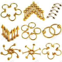 Stainless Steel body piercing jewelry wholesale - 90X jewelry L surgical stainless steel Piercings body jewelry Titanium Piercing Ring Bulks BB109 BB117