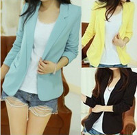 Wholesale 2013 autumn Korean women Blazers large long sleeve slim casual blazer coat black sky blue yellow designer brand fashion clothing